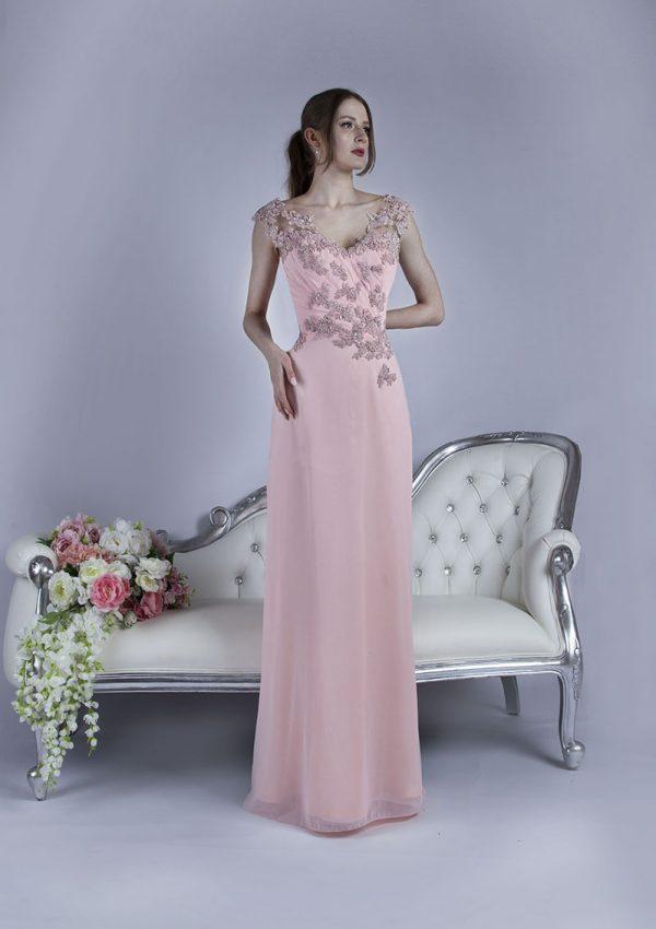 Růžové nežné společenské šaty velké velikosti