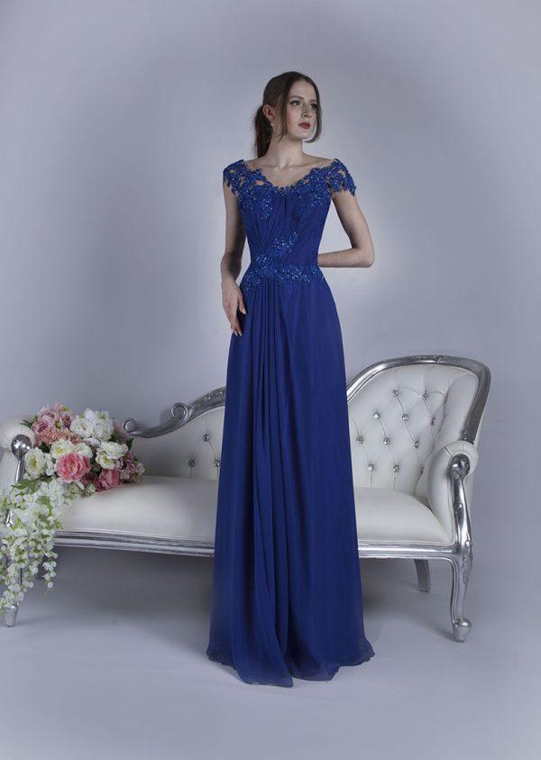 Elegantní modré společenské šaty velké velikosti