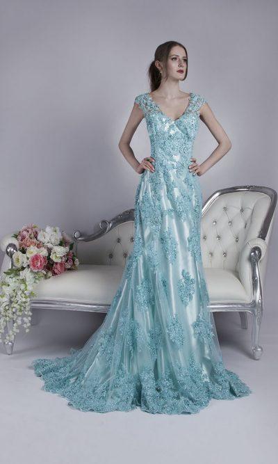 Luxusní společenské šaty tyrkysové barvy