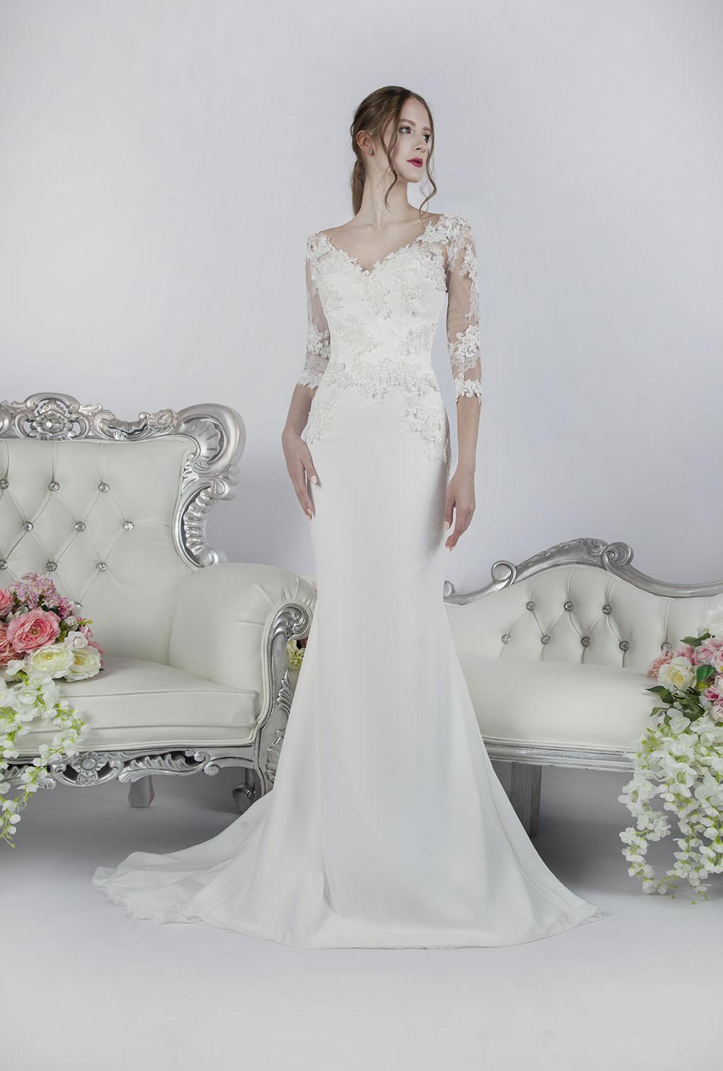 Svatební šaty mořská panna s rukávy Praha