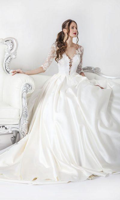 Boho svatební šaty s velkou sukní