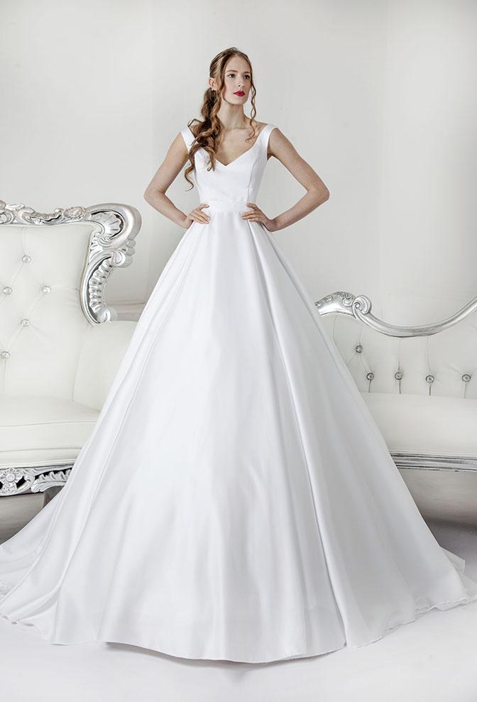 Svatební šaty jednoduchého stylu s ramínky