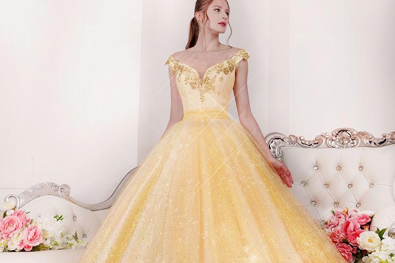 Třpytivé maturitní šaty na ples zlaté barvy